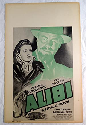 James Mason in ALIBI 1942 Movie Poster Margaret Lockwood; Hugh Sinclair; Raymond Lovell