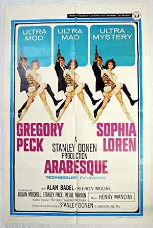 Original 'Arabesque' Movie Poster 1966 Gregory Peck & Sophia Loren; Mancini Henry
