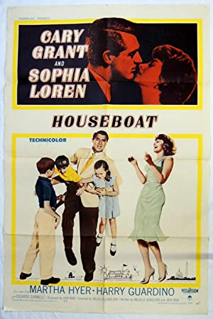 Original 1958 'HOUSEBOAT' MOVIE POSTER Cary Grant, Sophia Loren, Martha Hyer