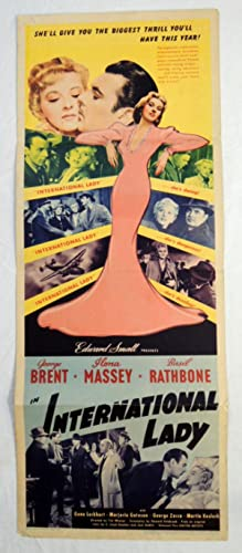 Original 'INTERNATIONAL LADY' 1941 MOVIE POSTER BASIL RATHBONE, GEORGE BRENT,