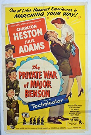 Original 'PRIVATE WAR MAJOR BENSON' 1955 MOVIE POSTER CHARLTON HESTON