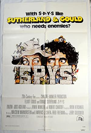 Original 'SPYS' MOVIE POSTER; ELIOT GOULD; DONALD SUTHERLAND 1974