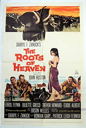 Original 'ROOTS of HEAVEN' 1958 MOVIE POSTER ERROL FLYNN, ORSON WELLES, JOHN HOUSTON