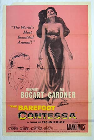 Original 1954 Barefoot Contessa Movie Poster - Humphrey Bogart, Ava Gardner