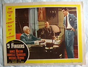 Five 5 Fingers Lobby Card 3 James Mason Danielle Darrieux, Otto Lang & Michael Rennie