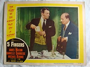 Five 5 Fingers Lobby Card 7 James Mason Danielle Darrieux, Otto Lang & Michael Rennie