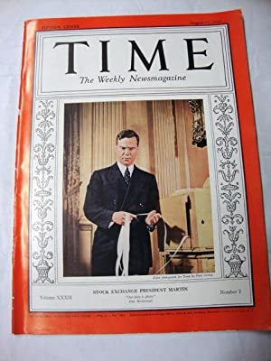 Time Magazine August 15, 1938 Stock Exchange President Martin