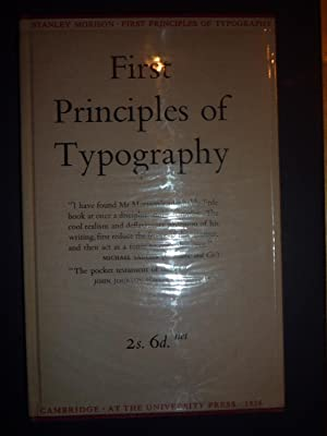 First Principles of Typography.: Morison (Stanley)