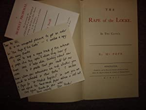 The Rape of the Lock. In Two Cantos. Literatim reprint of the first edition which appeared on 20 ...