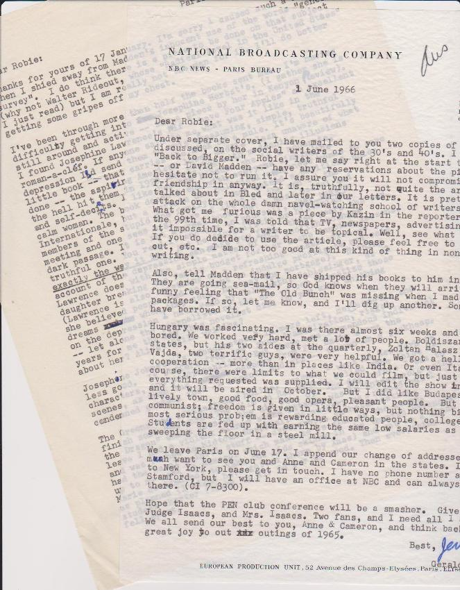 "Eleven Typed Letters, signed ""Jerry"", dated from 1966 to 1980. All to Robie Macauley, ..."