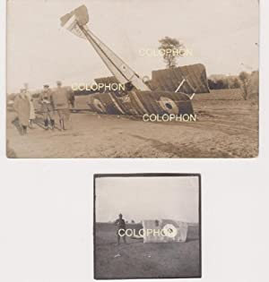 Two original contact print postcard and photo of a downed Morane BB A137