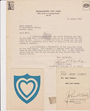 Typed Letter, signed, dated August 31, 1945 with color facsimile of the shoulder patch of the XXI...