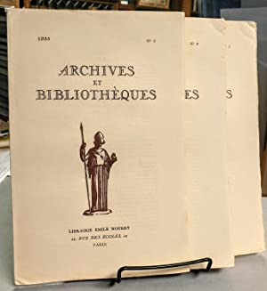 Archives et Bibliotheques. No. 1, No. 2 and No. 3. 1935