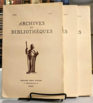 Archives et Bibliotheques. No. 1, No. 2 and No. 4. 1936