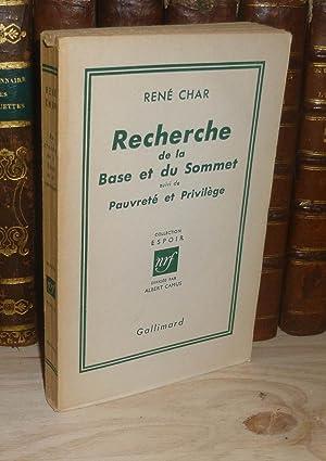 Recherche de la base et du sommet: CHAR, René