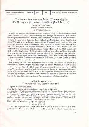 Notizen zur Anatomie von Iridina (Cameronia) spekii. Ein Beitrag zur ...