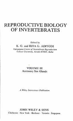 Reproductive Biology of Invertebrates. Volume III: Accessory: Adiyodi, K. G.