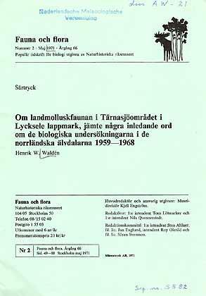 Om landmolluskfaunan i Tärnasjöomradet i Lycksele lappmark,: Waldén, H. W.