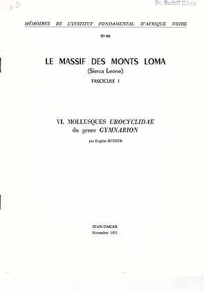 Le Massif des Monts Loma (Sierra Leone),: Binder, E.