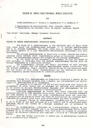 Origen de Iberus gualtierianus. Modelo Evolutivo: Lopez-Alcantara, A., Rivas,