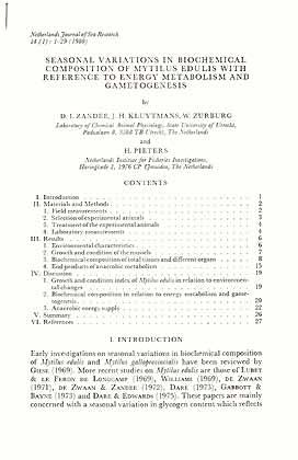 Seasonal variations in biochemical composition of Mytilus: Zandee, D. I.,