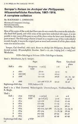 Semper's Reisen im Archipel der Philippinen, Wissenschaftliche: Johnson, R. I.