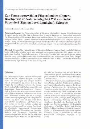 Zur Fauna ausgewählter Fliegenfamilien (Diptera, Brachycera) im: Bächli, G. &