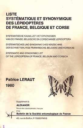 Liste Systématique et Synonymique des Lépidoptères de: Leraut, P.