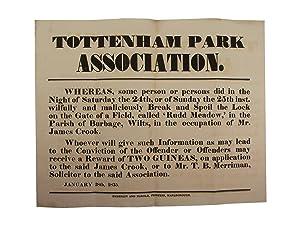 Tottenham Park Association - Breaking a Lock: Reward Notice]