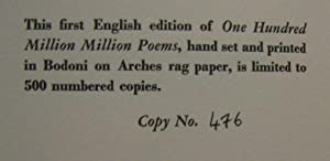 One Hundred Million Million Poems: QUENEAU, RAYMOND