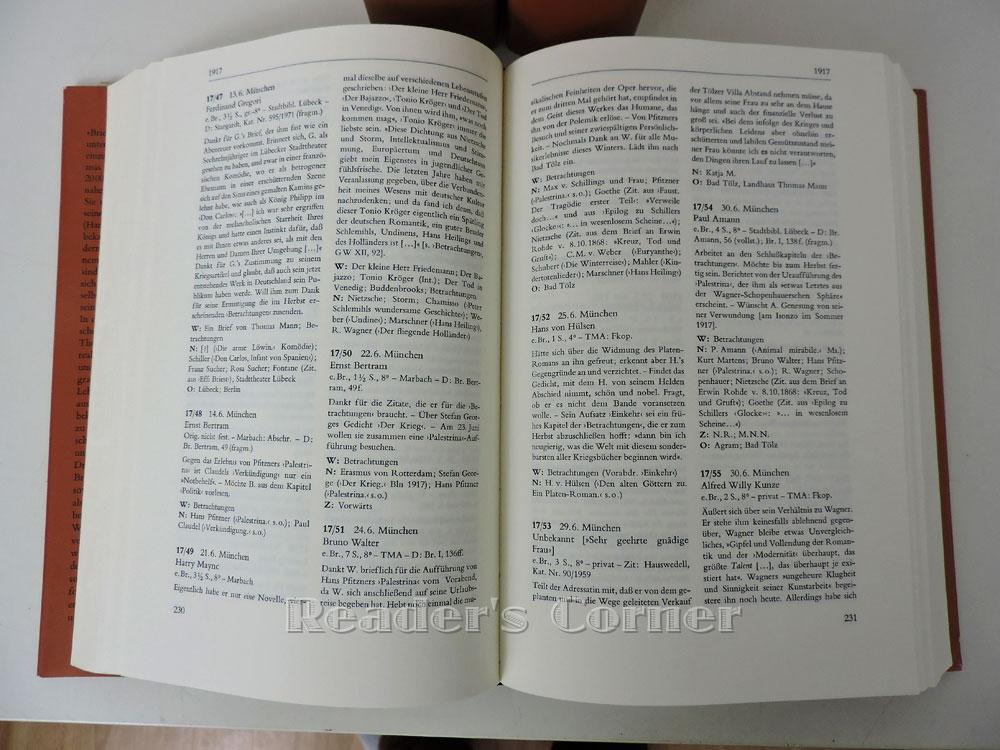 Die Briefe Thomas Manns Regesten Und