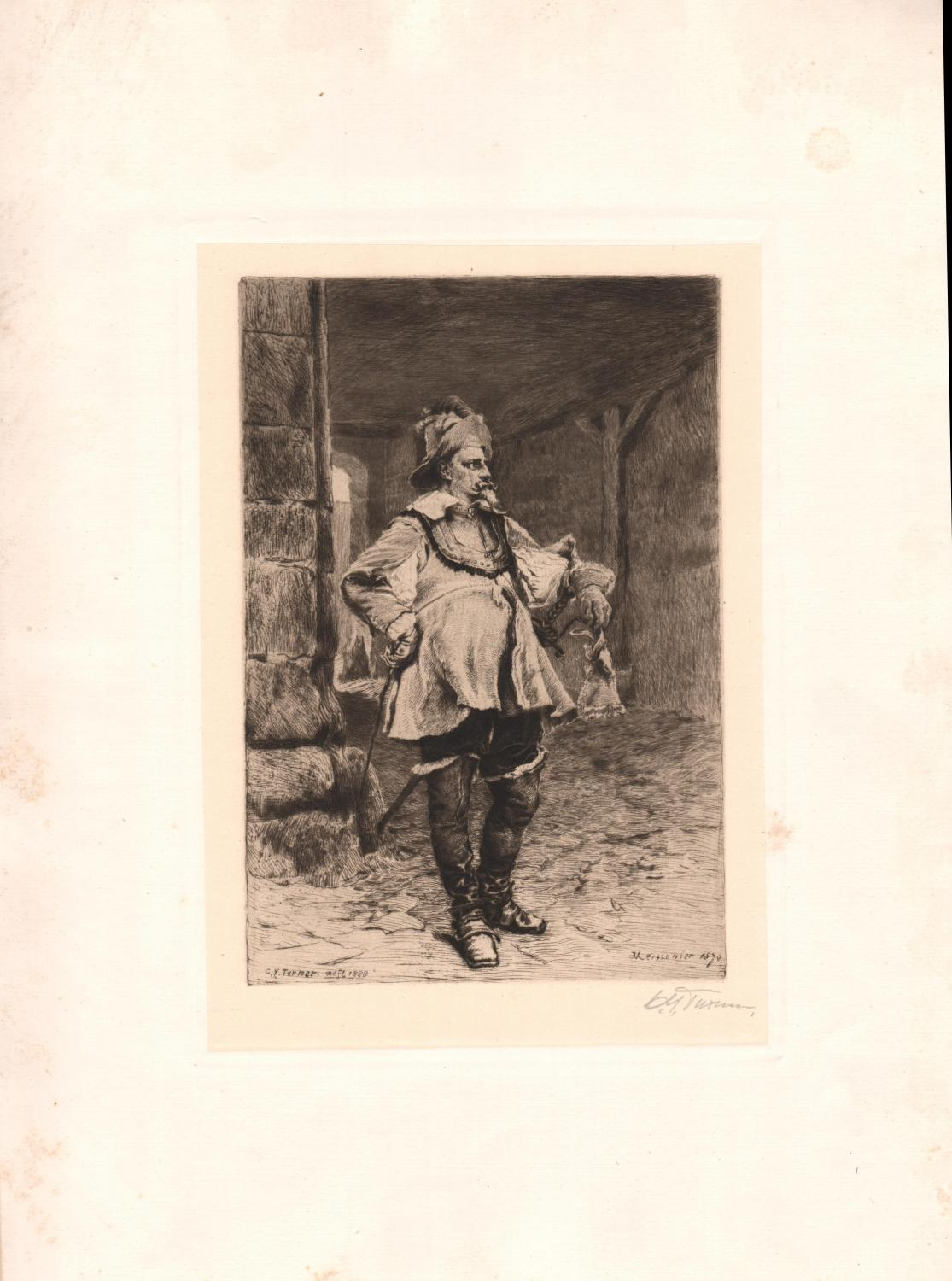 Original Pencil Signed Etching Captain of the Guard, by Charles Yardley Turner: J.L.E. Meissonier (...