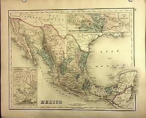 Original 1876 Map of Mexico: Davis, Gray &; H.L. Kochersperger (ed.)