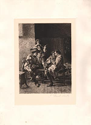 Original Pencil Signed Etching, The Game Lost by Frank Raubicheck: Jean Louis Ernest Meissonier (...
