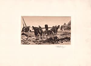 Original Pencil Signed Etching Hauling By the Capstan, Normandie, by Stephen Parrish: Alphonese ...