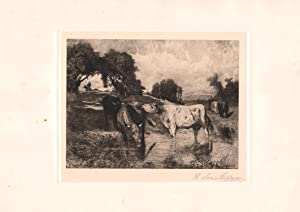 Original Pencil Signed Etching Normand Cattle, by Robert Swain Gifford: Francois Auguste Bonheur (...