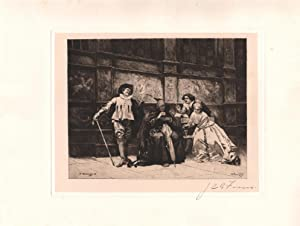 Original Pencil Signed Etching Levying Contributions, by Jean Leon Gerome Ferris: Edouard Zamacois ...