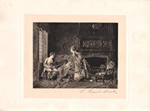 Original Pencil Signed Etching The First Born, by Frank Raubicheck: Jean Georges Vibert (Painter); ...