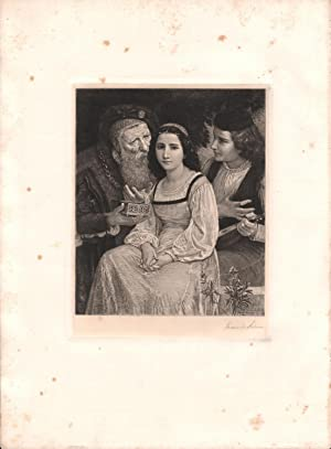 Original Pencil Signed Etching Hesitating Between Love and Riches, by Frederick Dielman: W.A. ...