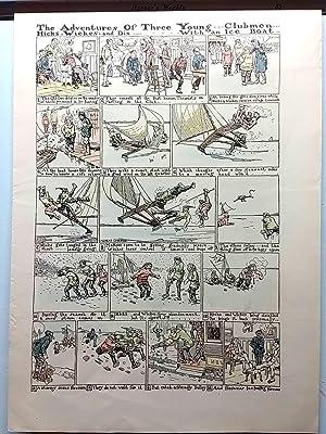 Ice Boating Adventure -Original Hand-Colored Print