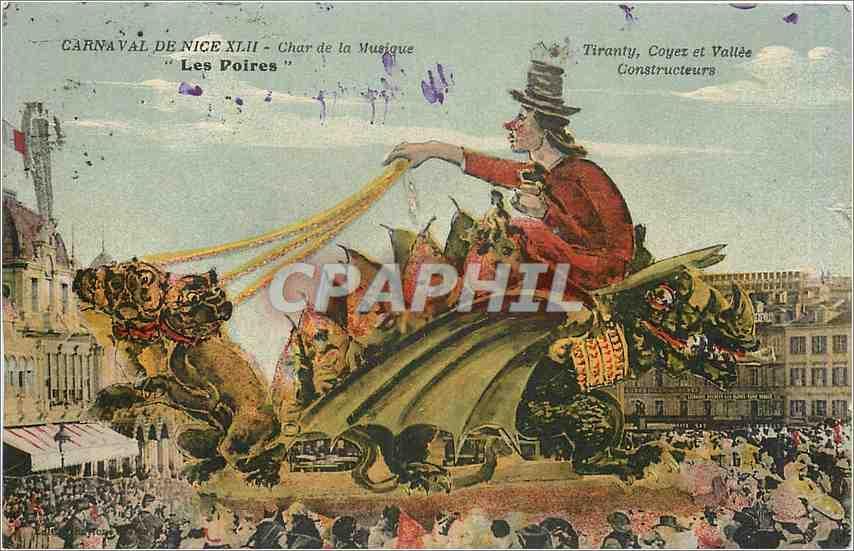 Carte Postale Ancienne Carna Val de Nice Char de la Musique Les Voires Tiranty Coyez et Vallée Constructeurs