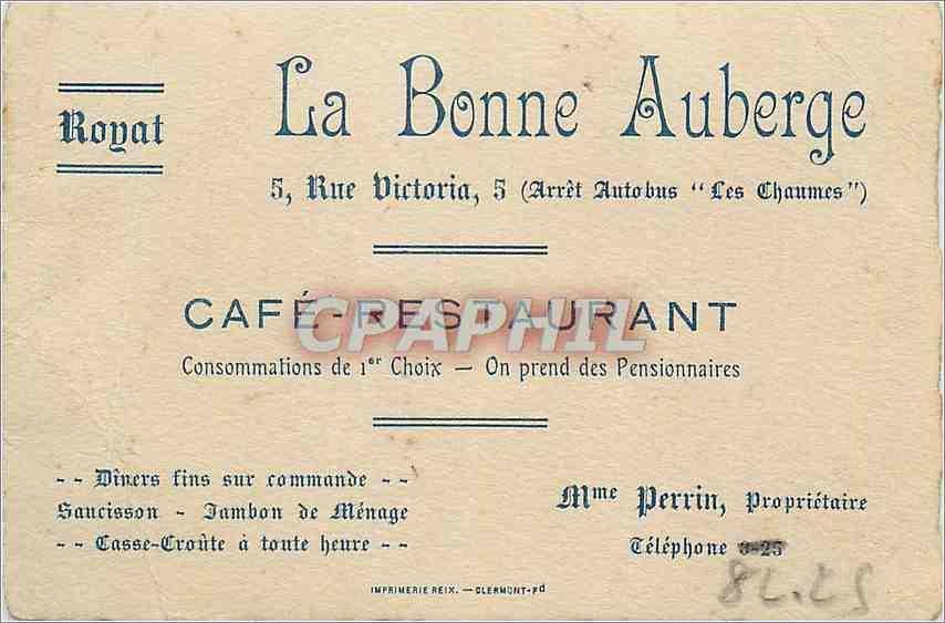 Carte De Visite La Bonne Auberge Royat