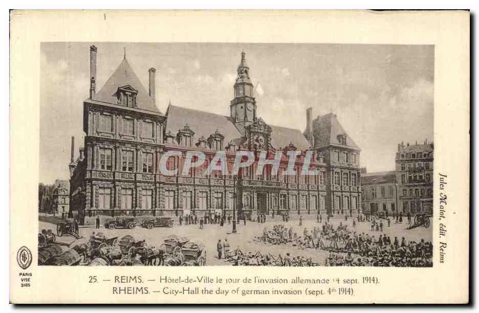 Carte Postale Ancienne Reims Hotel De Ville