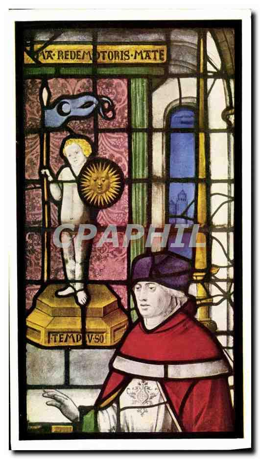 Carte Postale Moderne King's college chapel Cambridge Detail from window II the high priest of the temple of the sun