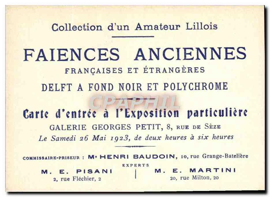 Carte De Visite Potier Poterie Faiences Anciennes