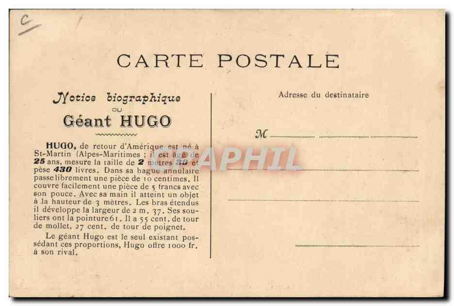 Carte Postale Ancienne Excursion du geant Hugo Automobile ...