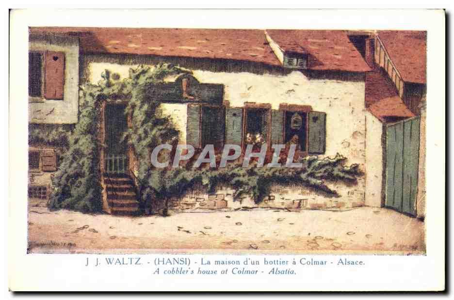 Carte Postale Ancienne Fantaisie Illustrateur Hansi Alsace La maison d'un bottier a Colmar ...