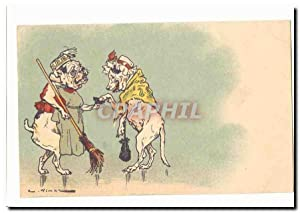 Carte Postale Ancienne Humour Chiens (menageer bouledogue)