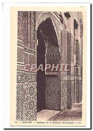 Maroc Meknes Carte Postale Ancienne Intérieur de