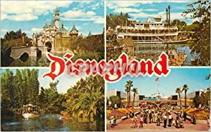 Carte Postale Moderne Disneyland Sleeping Beauty Castle Mark Twain steamboat Jungle Cruise Tomorr...